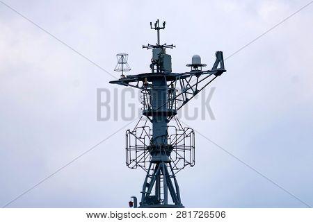 Communication Mast Of Modern Yacht With Set Of Antennas