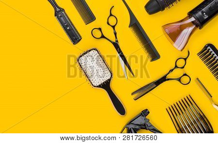 Professional Stylist Hair Cutting Tool And Accessories With Copy Space
