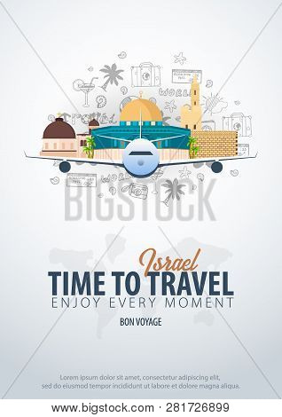 Travel To Israel. Time To Travel. Banner With Airplane And Hand-draw Doodles On The Background. Vect