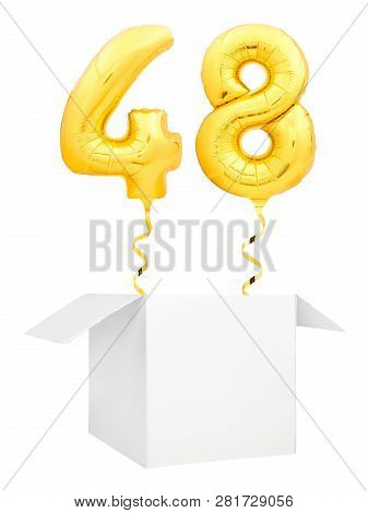 Golden Number Forty Eight Inflatable Balloon With Golden Ribbon Flying Out Of Blank White Box Isolat