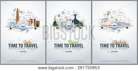 Travel To India, Brazil And Australia. Time To Travel. Banner With Airplane And Hand-draw Doodles On