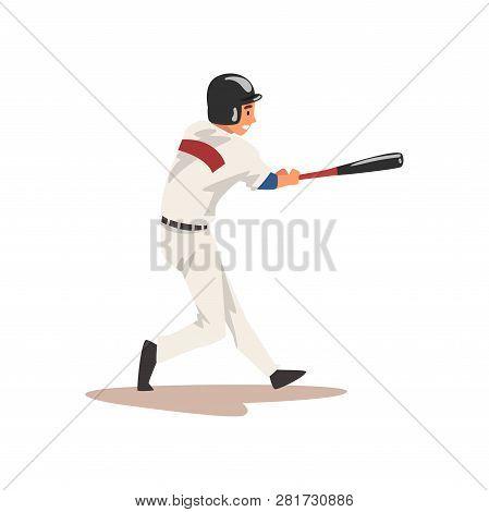 Baseball Batter Hitter, Softball Athlete Character In Uniform Vector Illustration