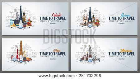 Travel To Europe, Asia And America. Time To Travel. Banner With Airplane And Hand-draw Doodles On Th