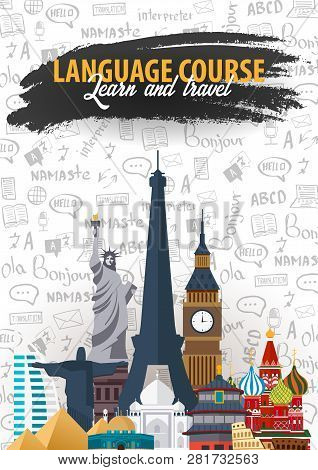 Language Trip, Tour, Travel. Learning Languages. Vector Illustration With Hand-draw Doodle Elements
