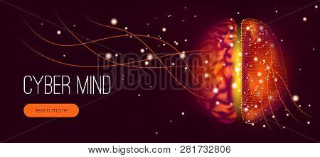 Human Brain Analysis, Big Data Visualization. Cyber Mind With Neural Connection. Machine Learning, S