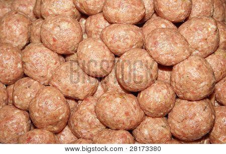Many Raw Meatballs