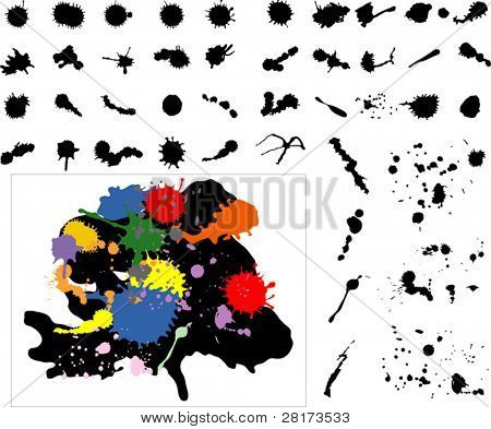 Highly detailed ink splats, blots. Can also be used as dirt, sand, bread crumbs. Vector illustration.