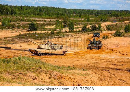 Tanks Abrams In Latvia. International Military Training
