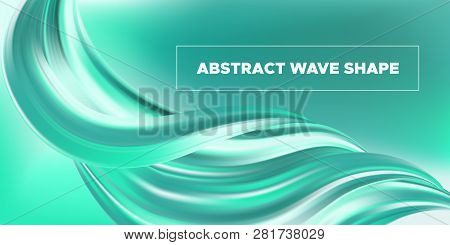 Wave Fluid, 3d Liquid Shape In Movement. Turquoise Fluid Poster Or Banner. Brush Stroke With Gradien