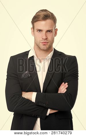 White Collar Worker. Man Well Groomed Unbuttoned White Collar Elegant Formal Suit Isolated White Bac