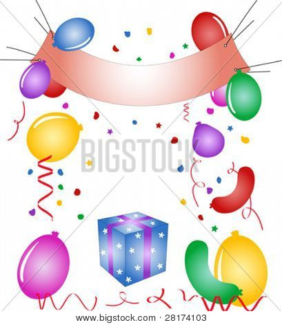 Party poster, balloons, confetti, gift box - vector illustration. Fully editable, easy color change.