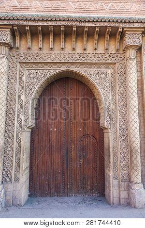 Old Door In Medina Of Marrakesh. Marrakesh, Marrakesh-safi, Morocco.