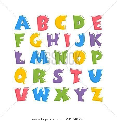 Alphabet For Kids In The Cartoon Style.