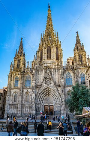 Barcelona, Spain - November 7, 2018 - The Cathedral Of The Holy Cross And Saint Eulalia, Also Known