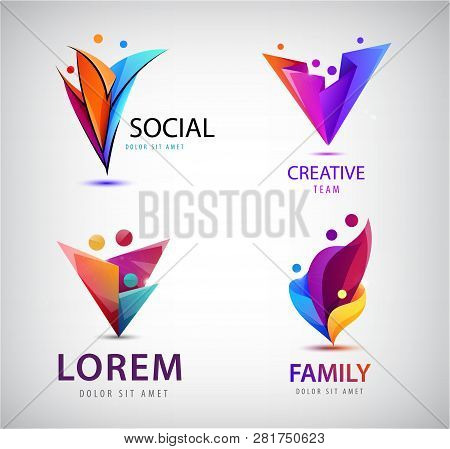 Vector Set Of Human, People Group Logos. Family, Business Teamwork, Friendship Concept. 3d Origami,