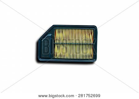 The Engine Air Filter On White Background Isolated