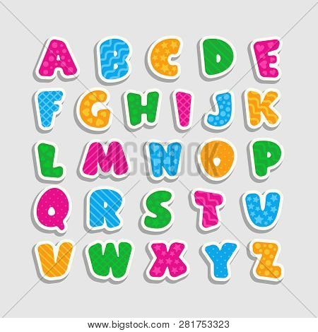 Alphabet For Kids With A Pattern In The Form Of Strips, Hearts, Waves, Stars And Circles.
