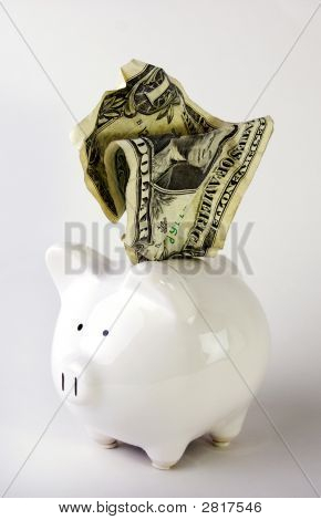 Piggy Bank With Dollar Bill