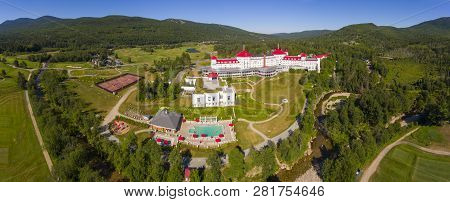 Aerial view of Mount Washington Hotel panorama in summer in Bretton Woods, New Hampshire, USA. This Hotel hosted the Bretton Woods monetary conference in 1944.