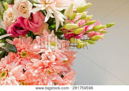 Pink Orange Chrysanthemum Flower.bouquet Seen From Above. Carnation, Chrysanthemum And Limonium Flow