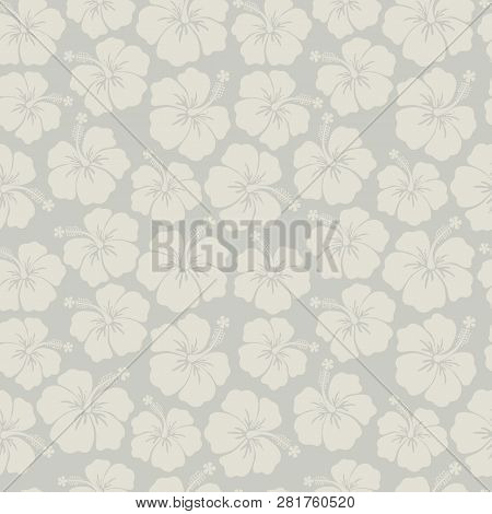 Subtle Floral Background Gray Hibiscus Flowers Seamless Vector Pattern. Feminine Backdrop Gray Hues.