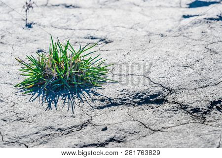 Dry soil in the time of drought. Precipitation deficiency. poster