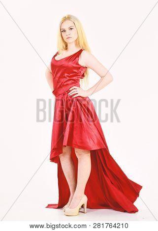 Dress Rent Service, Fashion Industry. Woman Wears Elegant Evening Red Dress, White Background. Dress
