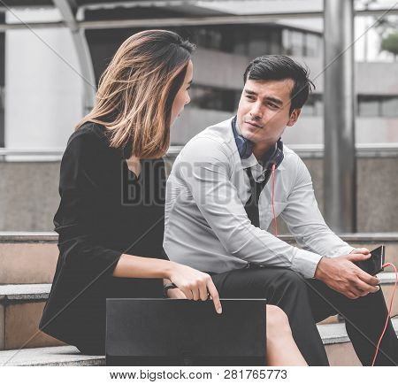 Office Woman With Business Man Couple Lover Talking Flirting Sitting Outdoor