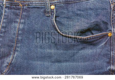 Blue Jeans . Detail Of Vintage Blue Jeans Texture With Pocket.pocket On Jeans Denim Fashion Backgrou