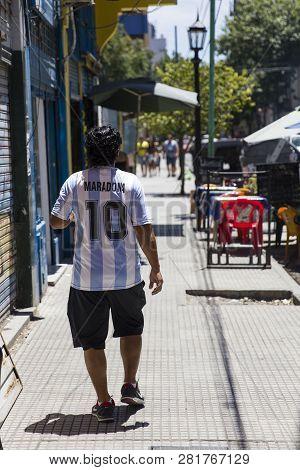 Buenos Aires, Argentina - January 20, 2018: Unidentified Man With Diego Armando Maradona Shirt At Ca