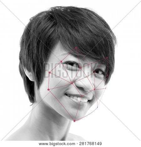 Biometric verification. Human facial detection, high technology. Asian woman face ID scanning.