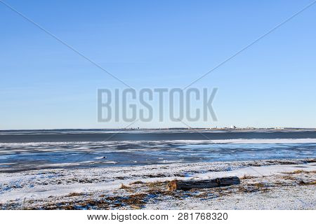 Wintry Coastline With A Tree Trunk By The Coast At The Swedish Island Oland In The Baltic Sea