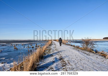 Beautiful Winter View With A Person Walking On A Snowy Footpath Through The Reeds At The Swedish Isl