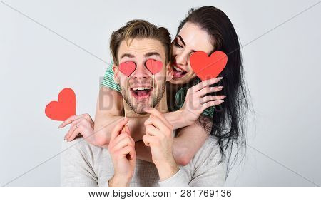 Valentines Day And Love. Romantic Ideas Celebrate Valentines Day. Man And Pretty Girl In Love. Man A