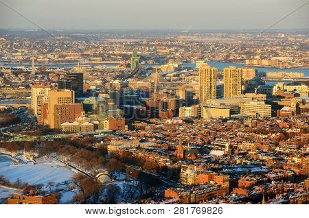 Boston Downtown West End District And Leonard P. Zakim Bunker Hill Memorial Bridge Aerial View At Su