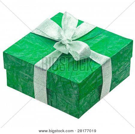 Beautiful turquoise gift isolated on white background