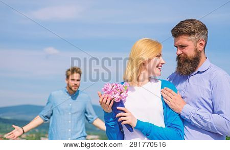 Ex Partner Watching Girl Starts Happy Love Relations. Couple In Love Dating Outdoor Sunny Day, Sky B