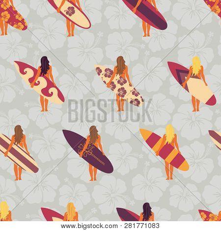 Summer Surfer Girl Seamless Vector Pattern. Women Holding Surfboards Illustration Hibiscus Flower Ba