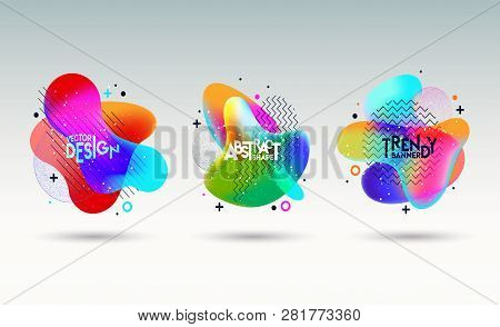Colorful Geometric Background. Fluid Graphic Shape Composition. Modern, Fresh, Trendy Banner, Poster