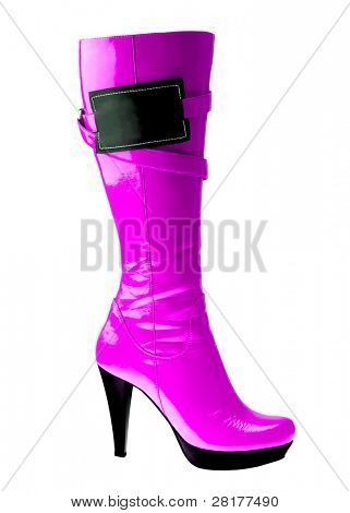 Stylish high heel fashion violet boot with empy label isolated on white background