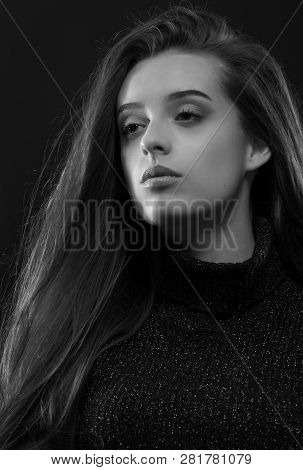 Modern Portrait, Colorful High Fashion Beauty Shoot Of Fashion Model Girl With Fashion Make Up On A