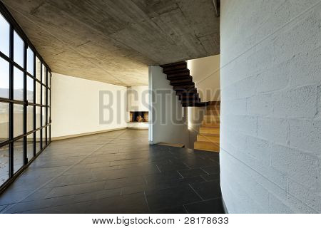 modern empty villa, large window, background stairs