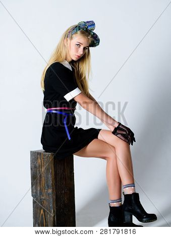 Vintage Fashion Concept. Girl Blonde Wear Elegant Black Dress. Formal Uniform Elite School College O