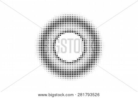 Black On White Contrast Halftone Texture. Centered Dotwork Gradient. Dotted Vector Background. Monoc