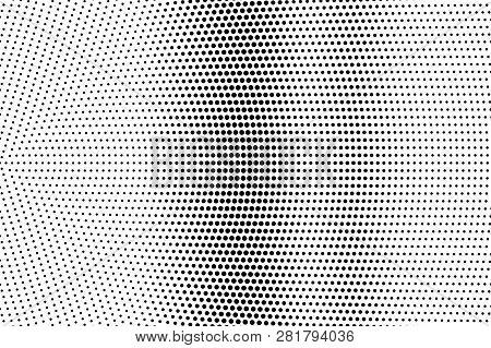 Black On White Radial Halftone Texture. Vertical Dotwork Gradient. Dotted Vector Background. Monochr