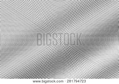 Black On White Frequent Halftone Texture. Diagonal Dotwork Gradient. Rough Dotted Vector Background.