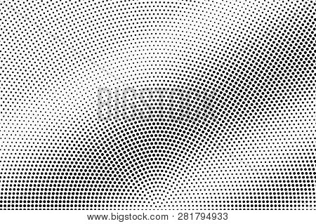 Black On White Radial Halftone Texture. Diagonal Dotwork Gradient. Rough Dotted Vector Background. M