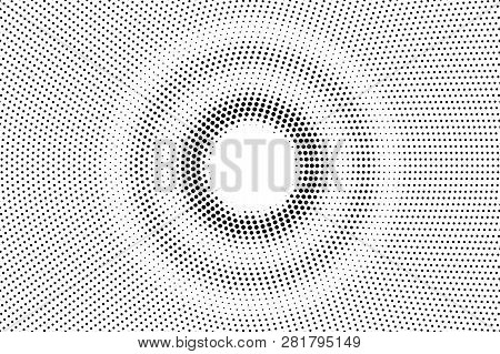 Black On White Round Halftone Texture. Rough Dotwork Gradient. Distressed Dotted Vector Background.