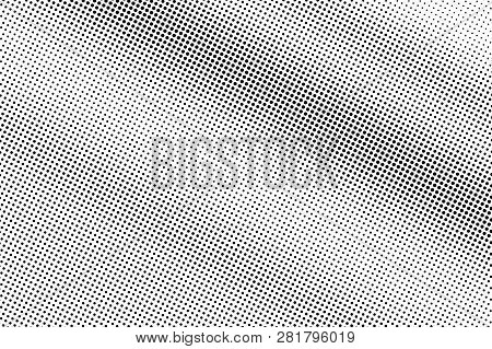 Black On White Smooth Halftone Texture. Diagonal Dotwork Gradient. Rough Dotted Vector Background. M