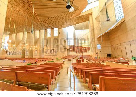Los Angeles, California, United States - August 9, 2018: Interior Side Nave Of Cathedral Of Our Lady